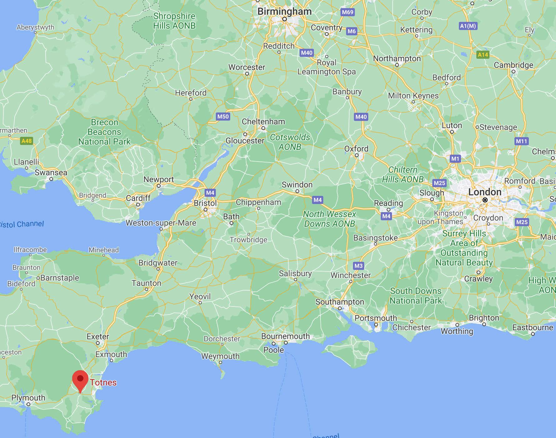 Map Showing Totnes in South Devon